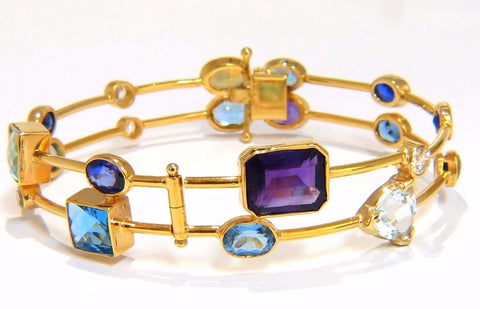 26CT NATURAL AMETHYST AQUAMARINE SAPPHIRE WIRE & CABLE LINK BRACELET