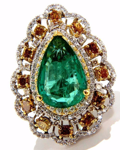 GIA 12.77CT NATURAL EMERALD DIAMONDS RING 18KT VIVID GREEN & FANCY COLORS
