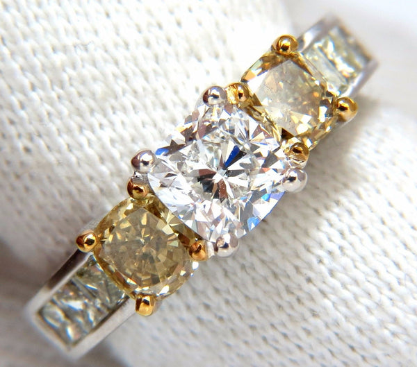 GIA certified 1.01ct Cushion cut diamond & 1.02ct fancy yellows ring 14k G/vvs2