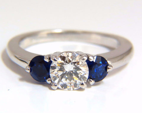 1.57CT NATURAL DIAMONDS SAPPHIRE THREE STONE RING 14KT ROYAL BLUE
