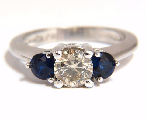 1.44CT NATURAL ROUND DIAMOND & SAPPHIRE THREE STONE CLASSIC 14KT