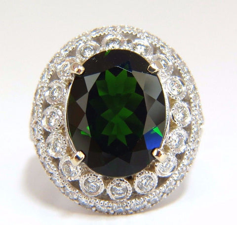GIA 6.71CT NATURAL BRIGHT VIVID GREEN DIOPSIDE HALO CLUSTER DIAMONDS RING 14KT