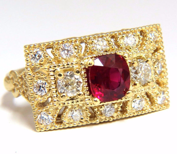 GIA 2.31CT NATURAL CUSHION VIVID RED RUBY DIAMONDS BYZANTINE RING 18KT