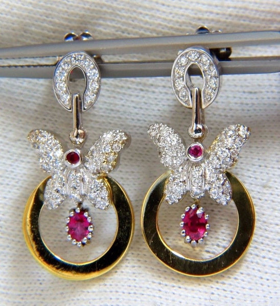 1.70CT NATURAL OVAL BRIGHT RED RUBY DIAMOND DANGLE BUTTERFLY EARRINGS 14KT