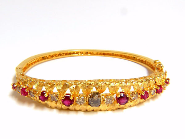 3.26CT NATURAL RUBY FANCY COLOR DIAMONDS BANGLE BRACELET EURO GYPSY DEC