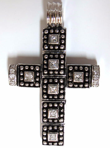 1.00CT NATURAL DIAMONDS GOTHIC CROSS PENDANT 1.86 INCH