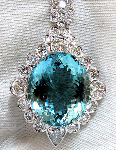 "33.71CT GIA NATURAL ""BLUE"" AQUAMARINE DIAMONDS NECKLACE AVISDIAMOND"
