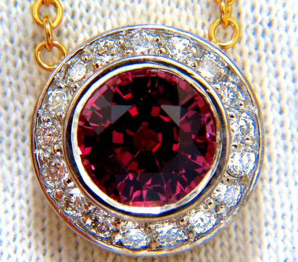 4.30ct NATURAL ROUND PINKISH RED TOURMALINE DIAMOND NECKLACE 14KT