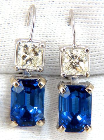 11.60CT NATURAL BRILLIANT EMERALD CUT TANZANITE DIAMOND DANGLE EARRINGS
