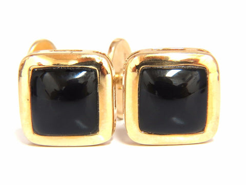 14KT .60 Inch MENS JET BLACK ONYX CUFFLINKS