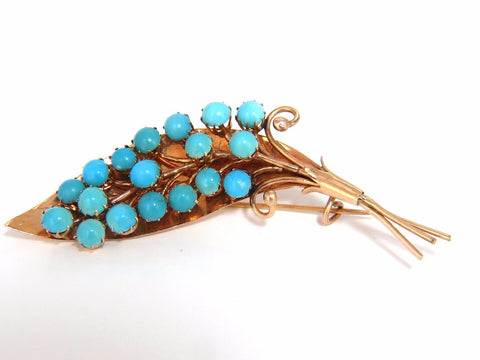 1940's PERSIAN TURQUOISE LEAF PIN HANDMADE 14KT ROSE GOLD