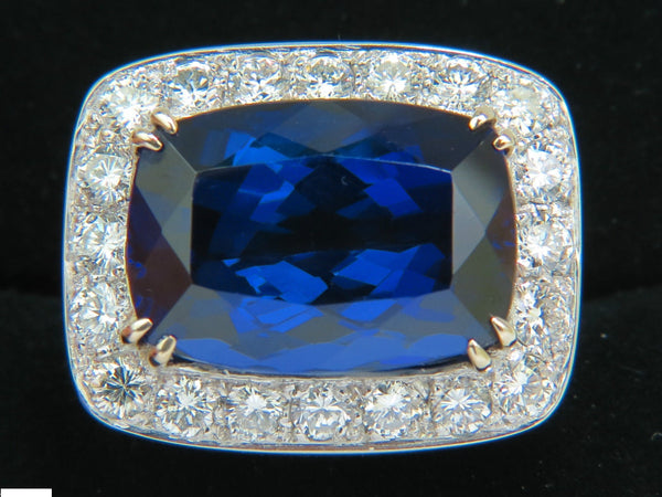 18KT GIA 22.95CT NATURAL TANZANITE DIAMOND RING 18KT CUSTOM MOUNT