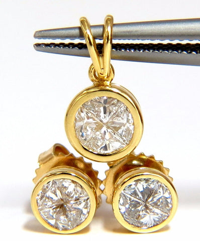 Matching earrings & pendant 18kt 1.50ct. trilliant diamonds g/vs
