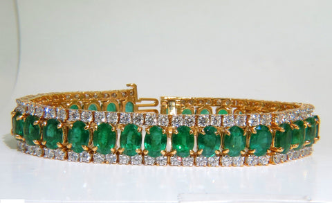 27.65CT NATURAL VIVID GREEN EMERALD DIAMOND BRACELET F/VS 14KT MULTIROW