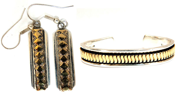 Designer: C. Harrell Dangling earrings & Bangle Bracelet 14kt & 925