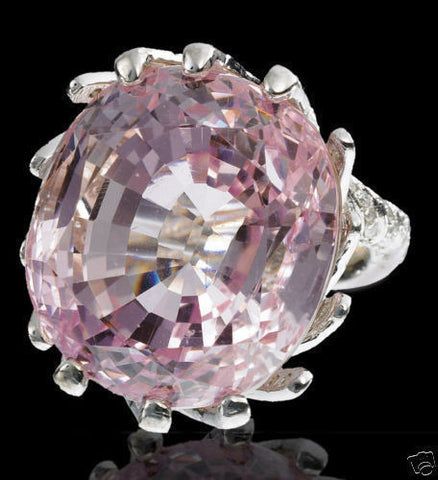 56.00CT NATURAL VIVID PINK KUNZITE DIAMOND RING 14KT RAISED TWIST