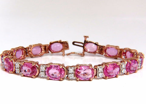 22.46ct natural Vivid Pink Sapphire diamond bracelet 14kt g/vs pink statement
