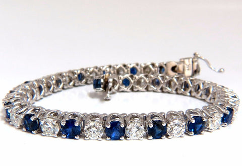 14.35ct natural Vivid royal blue round sapphires diamond bracelet 14kt tennis