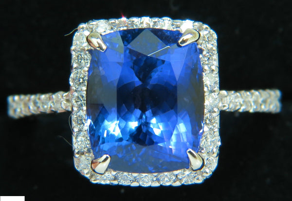 NATURAL 6.23CT TANZANITE HALO DIAMOND RING A+ CUSHION CUT & LUSTER VS