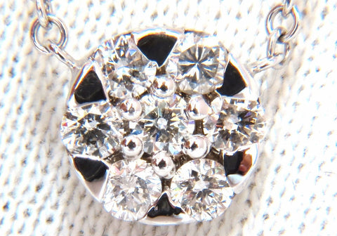 .70ct natural (7) round brilliant diamond cluster pendant 14kt 16 inch