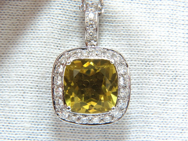 5.85ct natural cushion brilliant yellow quartz diamond pendant square halo 18''