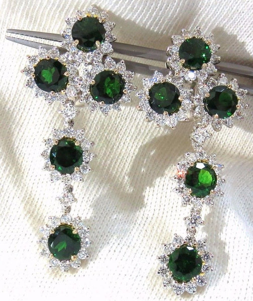 9.20ct natural vivid green tsavorite 4.18ct diamond dangle earrings 18kt cluster