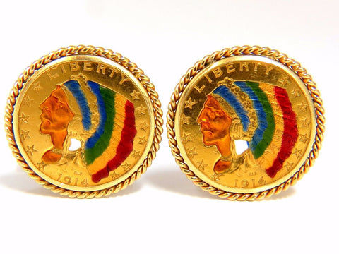 1914 (2) $5 .999 BLP US Liberty Gold Coin Cufflinks enamel detail rope twist