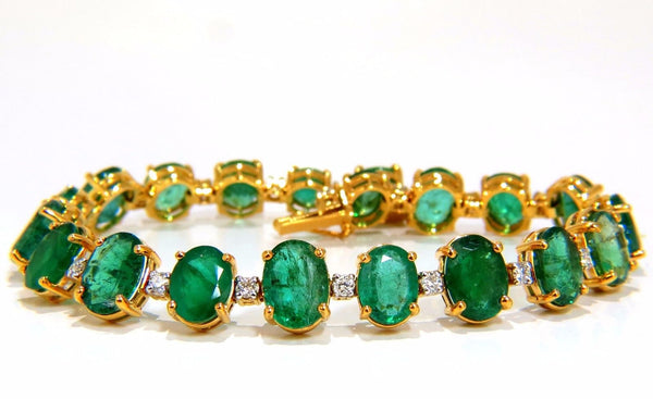 Emerald bracelet 27.42ct & .75ct diamonds classic tennis 14kt. natural greens