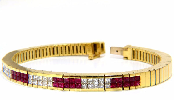 Herring Bone bracelet 18kt 3.50ct. natural ruby diamonds channel vintage deco