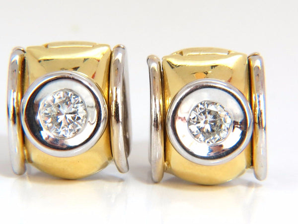 .80ct natural round brilliant diamond huggie earrings 18kt g/si1 petite elegance