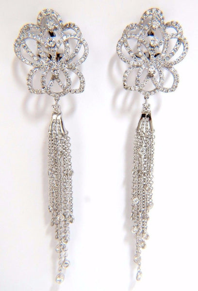 5.40ct natural diamonds cluster dangle drop earrings 18kt gilt deco