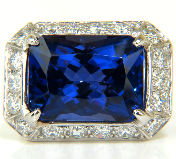 GIA 15.06CT 18KT NATURAL TANZANITE DIAMOND RING A+ D-BLOCK COLOR