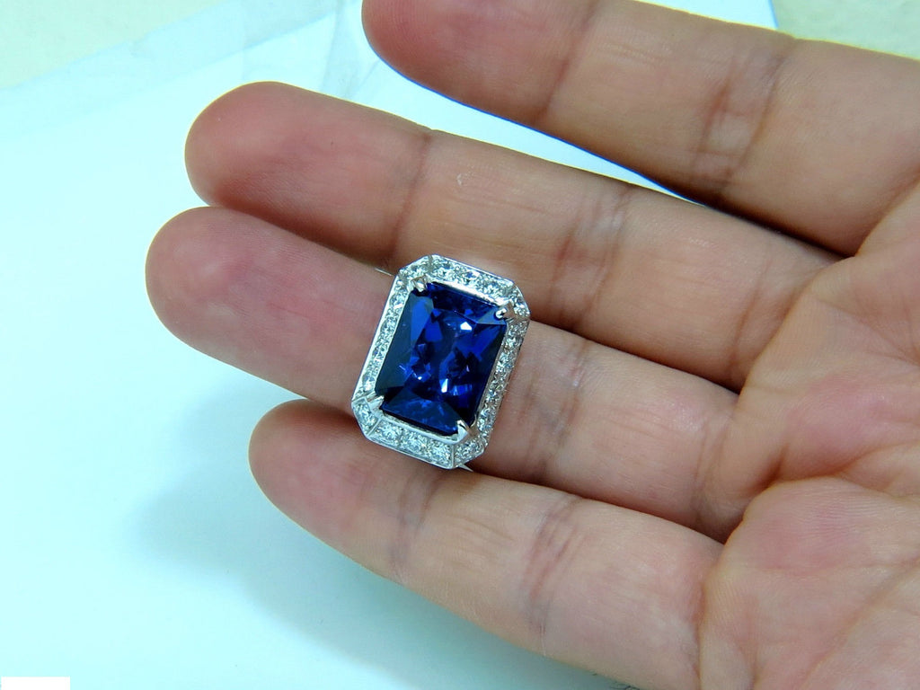 certified and q tanzanite gold kt gia natural tcw blue ring white cut diamond emerald