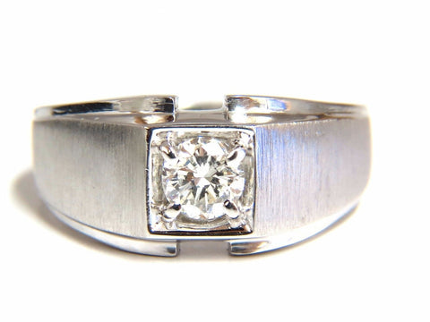 .56ct. mens natural round diamond solitaire ring 14kt brush finished