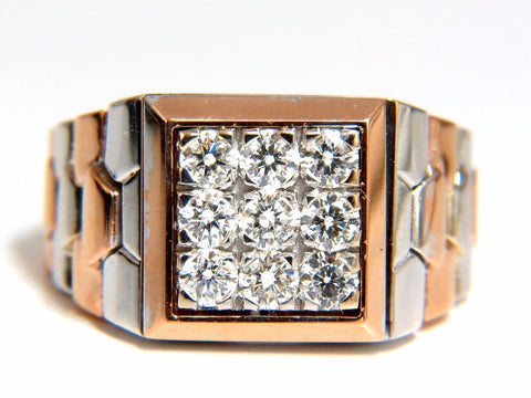 "1.02ct natural diamonds ""watch band"" mens ring G/Vs 3d 18kt 15 gram Flexible"