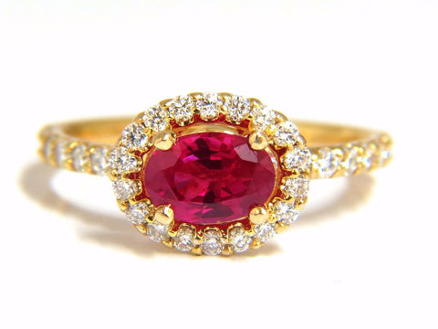 GIA Certified 1.01ct oval cut red ruby & .50ct diamonds ring 14kt Raised Deck