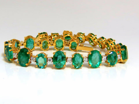 22.86ct bright green natural emerald diamonds tennis bracelet 14kt