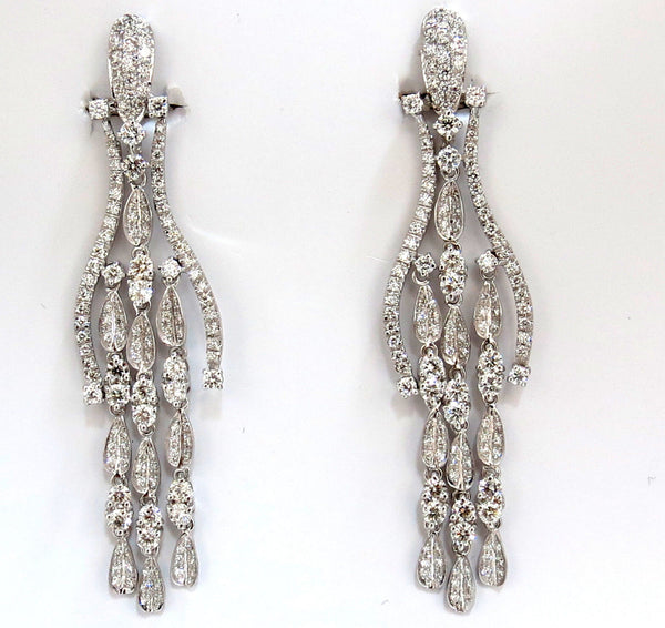 6.00ct natural diamonds modern dangle wishbone petal chandelier earrings 18kt