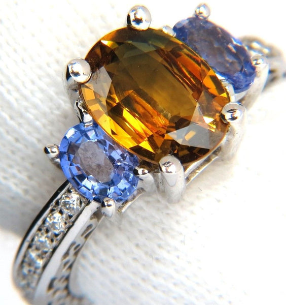 3.68CT NATURAL FANCY VIVID YELLOW BROWN SAPPHIRE TANZANITE DIAMONDS RING 14KT