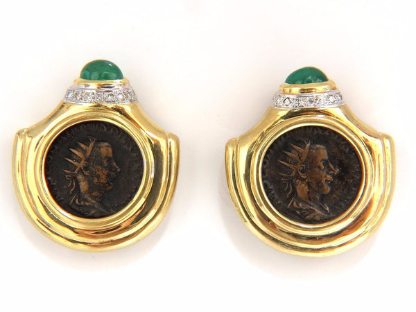 18kt 1.80ct natural emerald diamond coin clip earrings byzantine deco