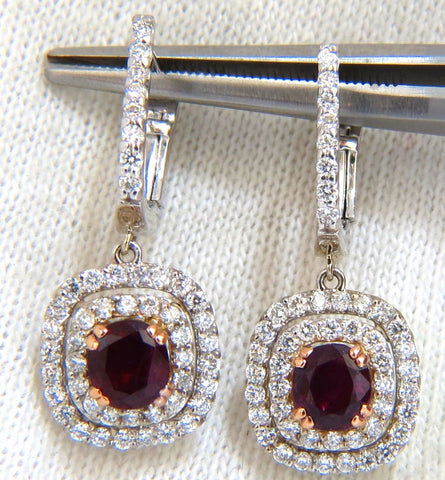 2.70ct natural deep red ruby diamond double halo dangle earrings 14kt.