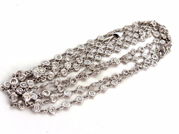 5.55ct diamonds eternity station by yard double wrap necklace 14kt g/vs 35.5inch