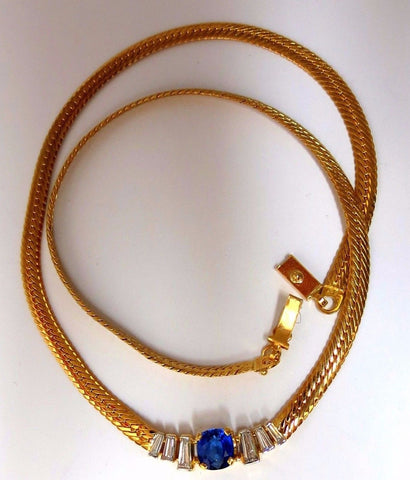 2.30ct natural sapphire diamonds necklace herring bone 14kt vivid blue