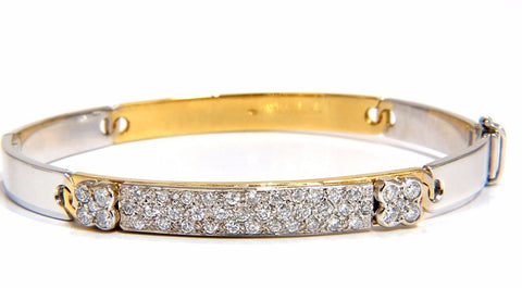 designer bangle bracelet 18kt 1.50ct. natural diamonds two toned mod