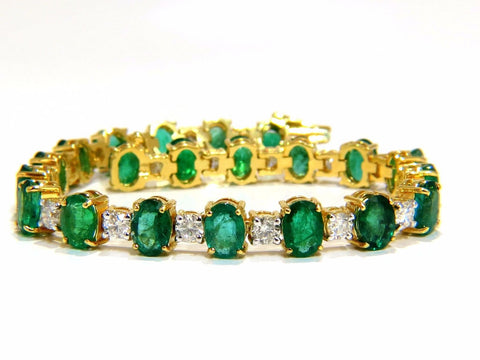 18ct bright forest vivid green natural emerald diamonds tennis bracelet 14kt