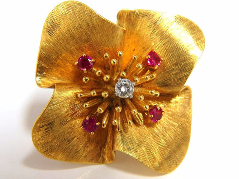 Clover Ruby diamonds brooch pin 14kt vintage