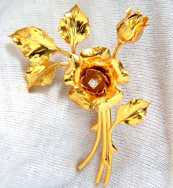 Floral Bundle Still Life Roses Brooch Pin 14kt