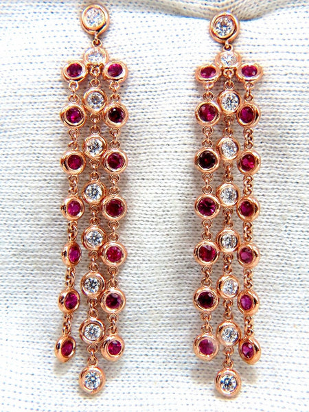 3.00ct natural deep red ruby diamond by yard dangle earrings 14kt.