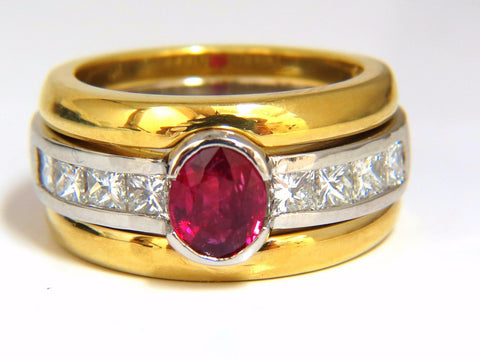 GIA Certified 2.13ct no heat ruby diamonds ring 18kt & platinum fused