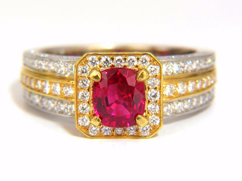 GIA Certified 2.54ct vivid red ruby diamonds ring